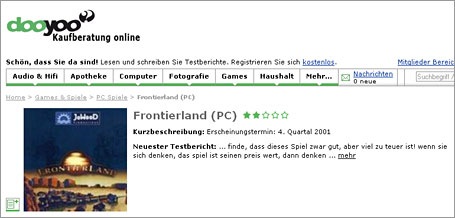 Screenshot von dooyoo.de - falsche Bewertung