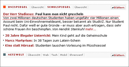 Spiegel Online Schreenshot 17.10.2007 - studiVZ Meldung