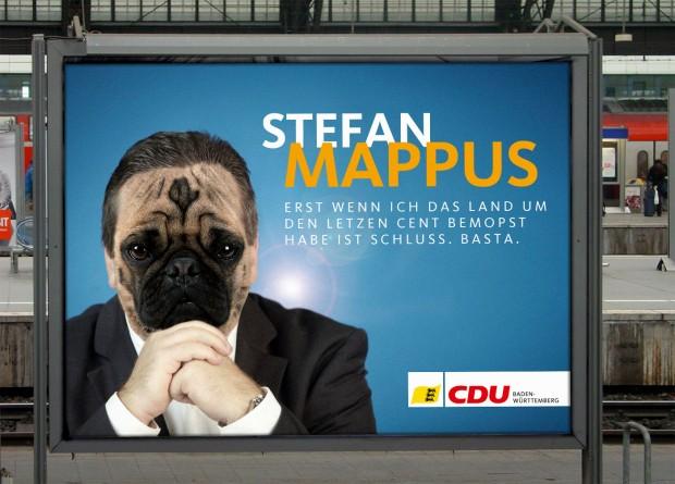 Plakat Stefan Mappus am Hauptbahnhof Stuttgart