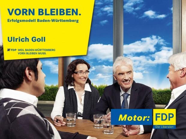 Wahlplakat FDP Spitzenkandidat Ulrich Goll Landtagswahl Baden-Württemberg 2011