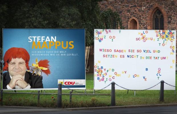 Mappus Wahlplakat als Pippi Langstrumpf - Landtagswahl 2011 Baden-Württemberg