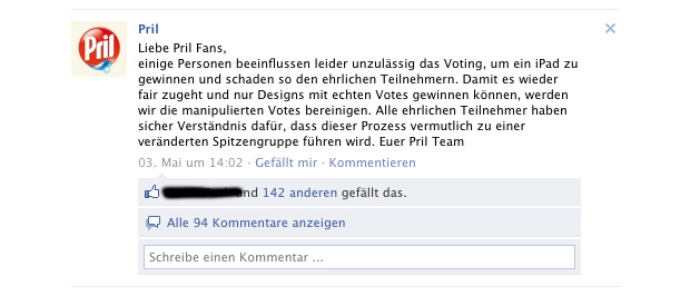 pril facebook wall eintrag 03052011