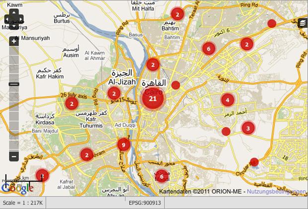 Ushahidi interaktive Karte Ägypten