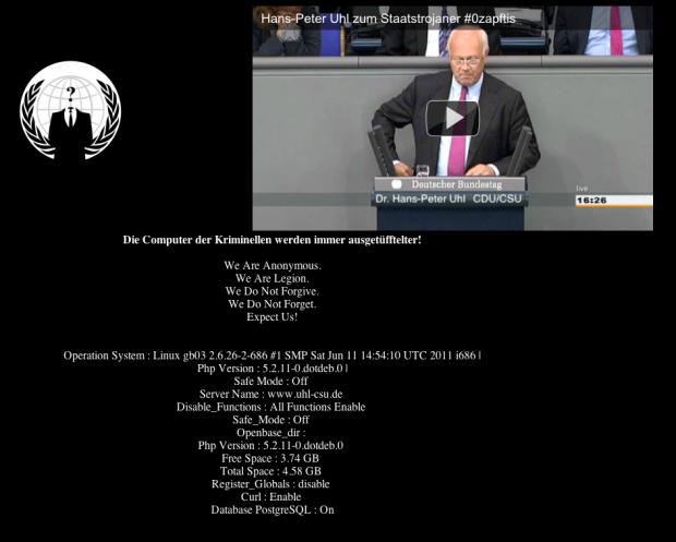 Anonymous hackt Internetseite von CSU Politiker Dr. Hans-Peter Uhl