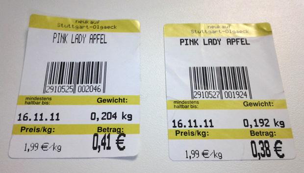 Neukauf Stuttgart Olgaeck: ein Apfel wiegt auf 1 Waage 12g mehr als auf der anderen
