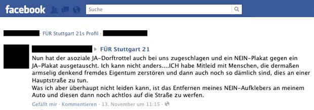 Kommentar auf der Für Stuttgart 21 Facebook Seite