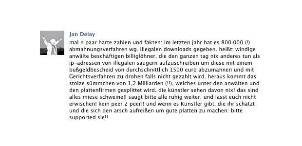 Jan Delay zu illegalen Downloads