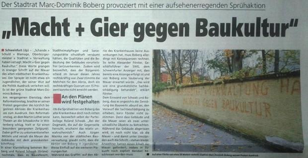 macht und gier gegen baukultur: stadtrat der grünen marc-dominic boberg besprüht alte stadtmauer in schweinfurt