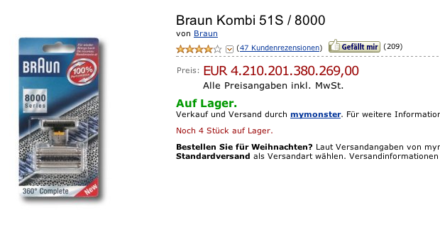 Braun Kombi 51S / 8000 bei amazon