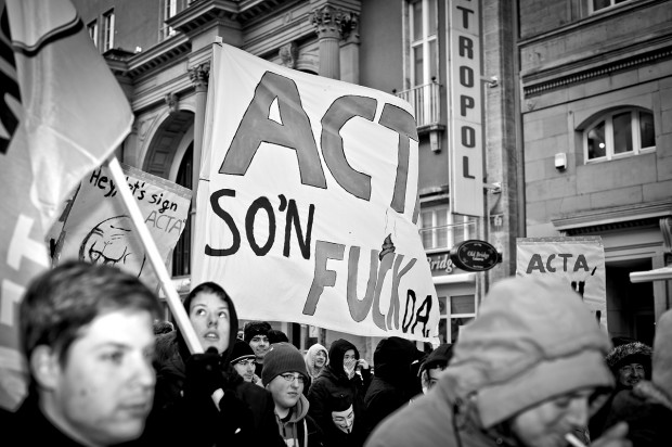 ACTA Demonstration in Stuttgart am 11.02.2012 - ACTA so ein Fuck da Plakat