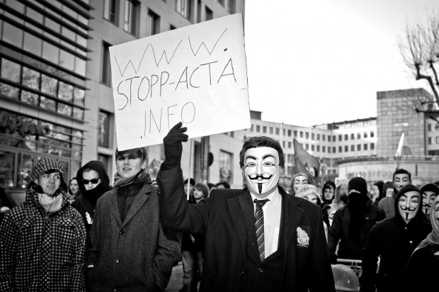 ACTA Demonstration in Stuttgart am 11.02.2012 - Guy Fawkes Masken Vendetta