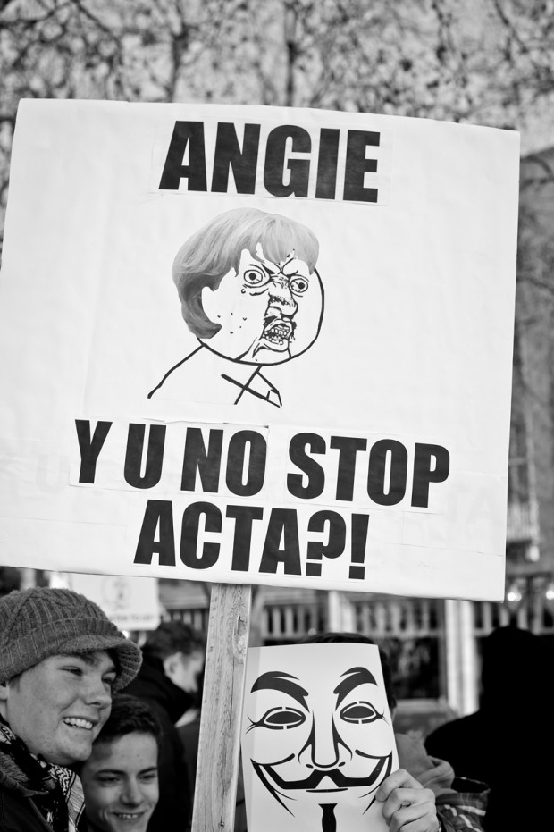 ACTA Demonstration in Stuttgart am 11.02.2012 - Angela Merkel