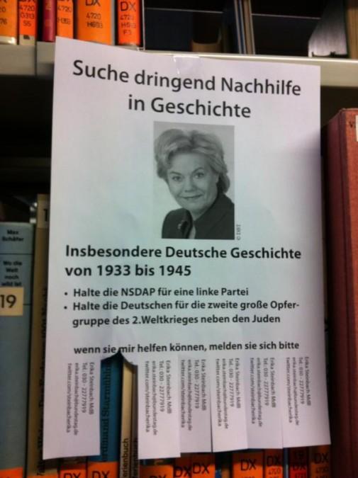 Erika Steinbach sucht Nachhilfe