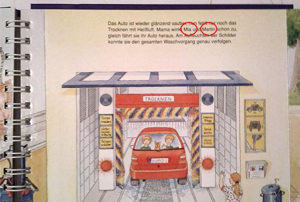 Kinderbuch - nach dem Waschgang sitzt Martin statt Max im Auto