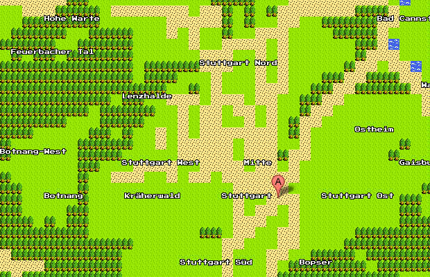 Google Maps 8-bit Version Stuttgart