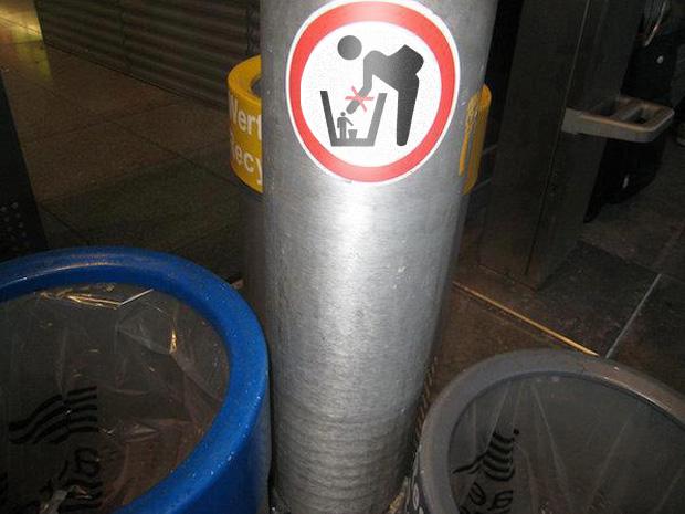 Aufkleber: Bitte keine Abfallsammler sammeln