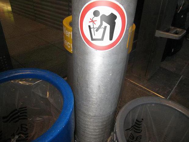 Aufkleber: Bitte keinen Sangria aus Abfalleimern trinken