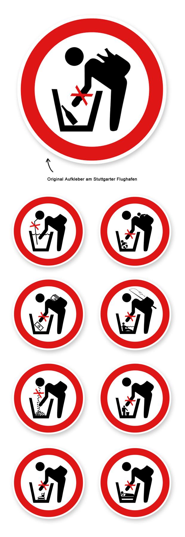 Neue Aufkleber für den Flughafen Stuttgart - Alternativen zu Pfandflaschen sammeln verboten
