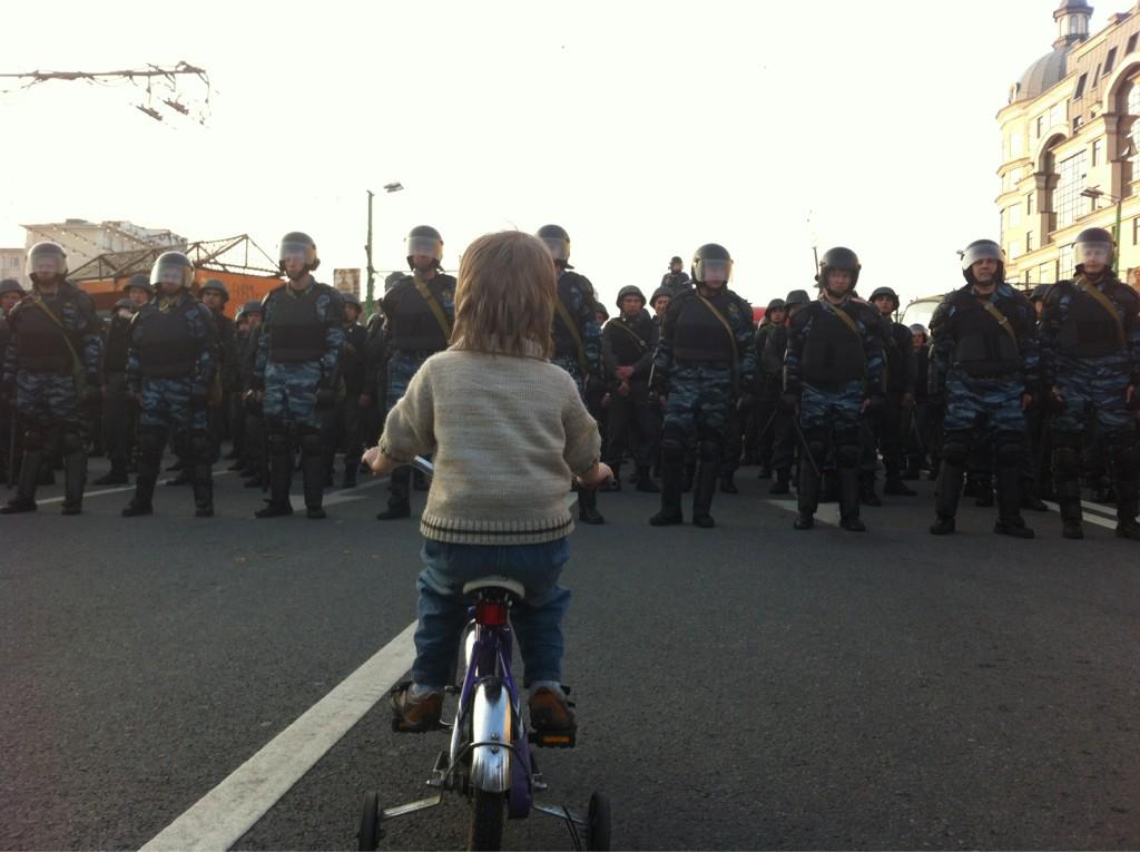 Foto von der Demo zur Amtseinführung von Wladimir Putin