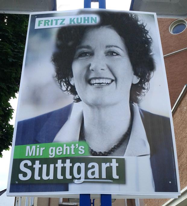 Bettina Wilhelm (SPD) auf Fritz Kuhn (B90/Grüne) Wahlplakat
