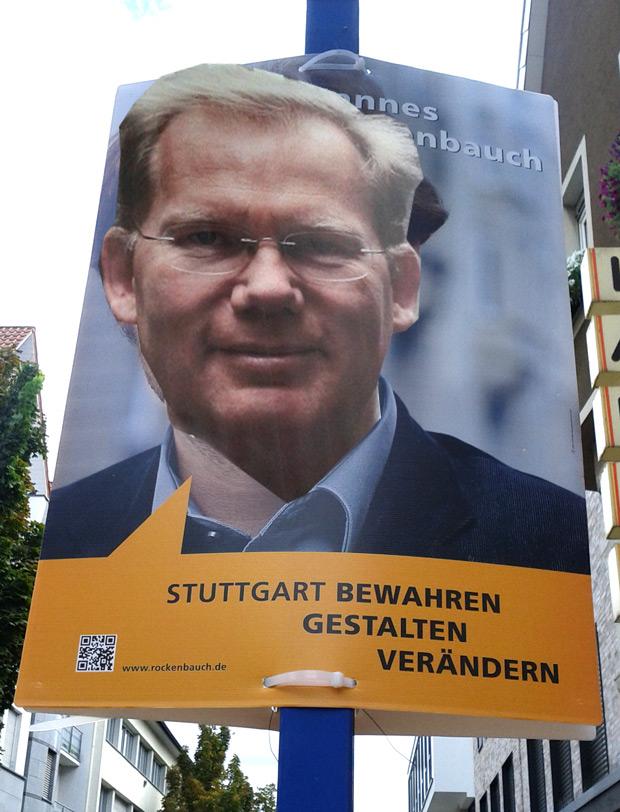 Sebastian Turner (sehr CDU nah) auf Hannes Rockenbauch (SÖS) Wahlplakat