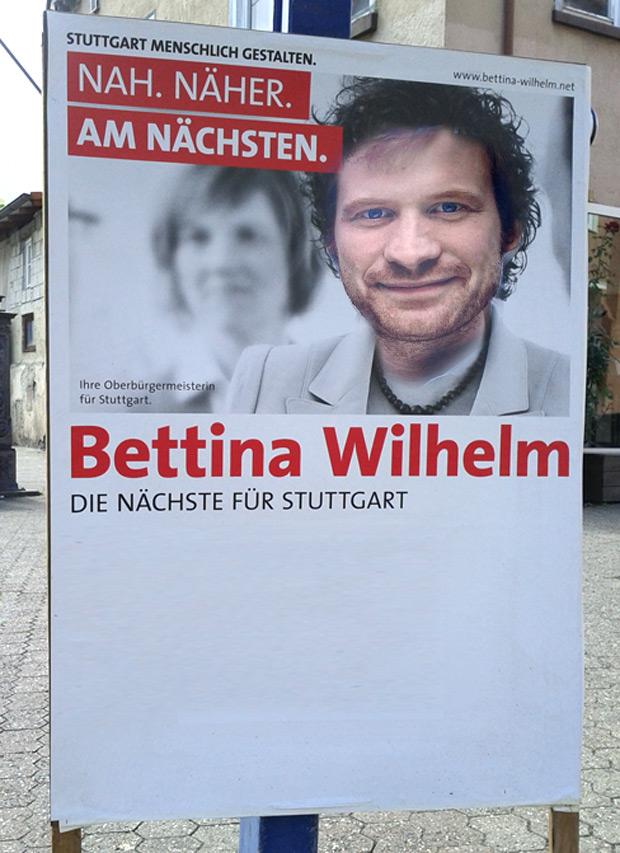 Hannes Rockenbauch (SÖS) auf Bettina Wilhelm (SPD) Wahlplakat
