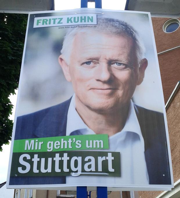 Originalplakat: Fritz Kuhn - Mir gehts um Stuttart