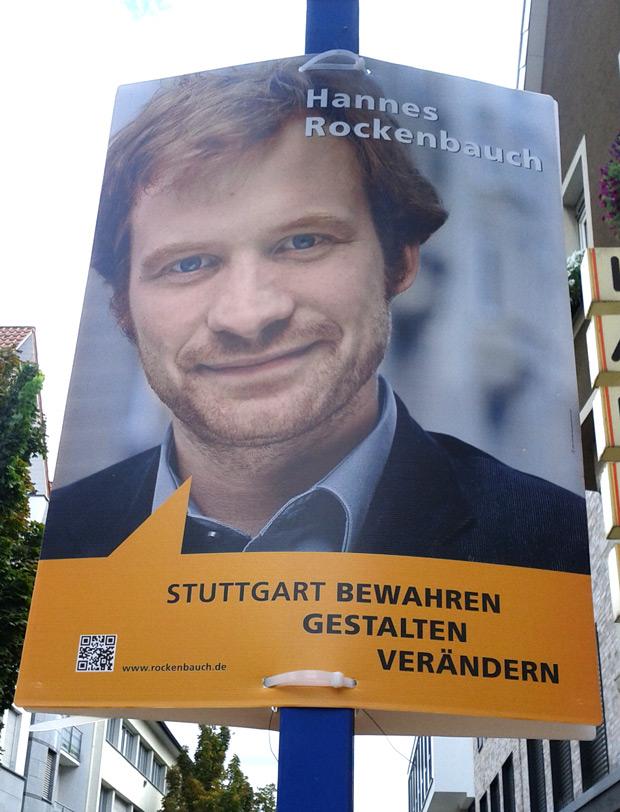 Original Wahlplakat: Hannes Rockenbauch - Stuttgart bewahren gestalten verändern