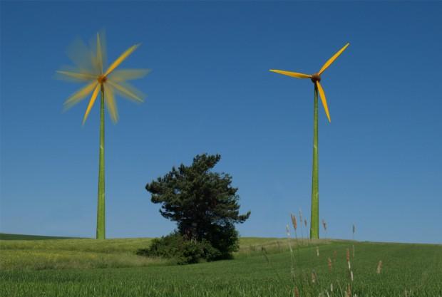 Windräder als Sonnenblume verkleidet
