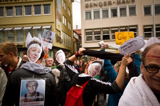 """Stuttgart, 12.10.2012: """"Die Kanzlerin kommt zum Turnen"""""""