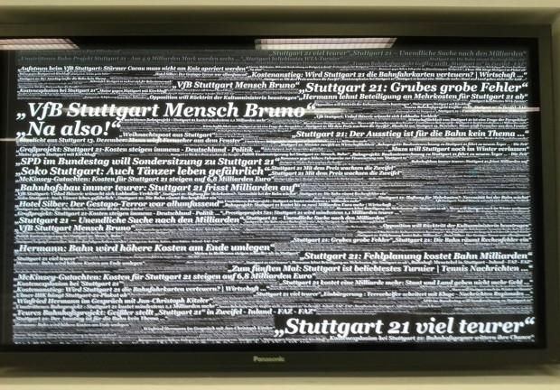 Stuttgart Bibliothek Nachrichtenwand