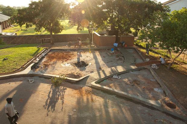 Bauarbeiten am Spielplatz