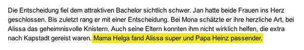 Meldung zum Bachelor Finale bei Bild.de - Stand 20.02.2013