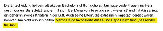 Meldung zum Bachelor Finale bei Bild.de - Stand 21.02.2013