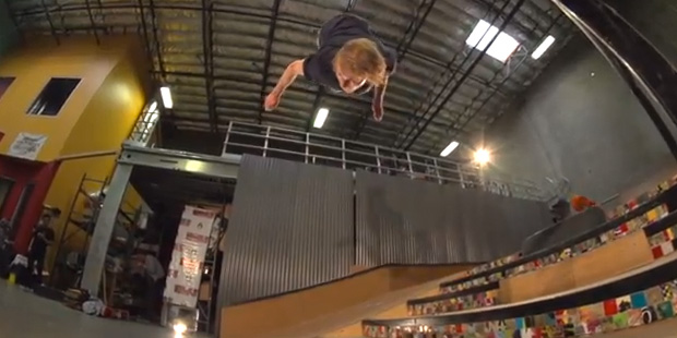 skateboard backflip down 6 stairs