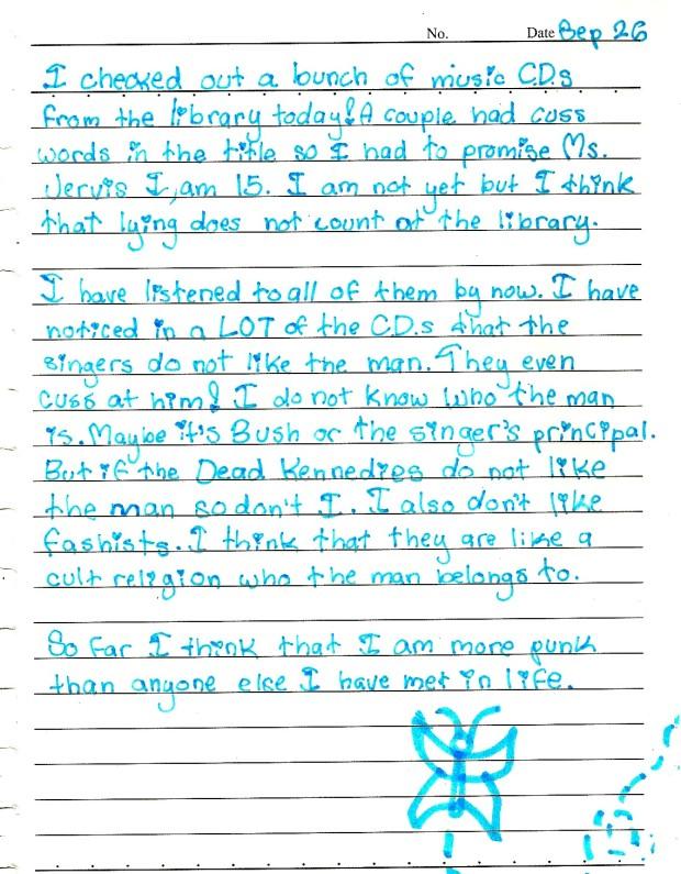 Taylor Ruth Tagebuchseite aus der fünften Klasse