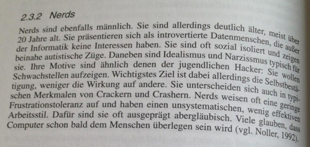 """Definition von """"Nerds"""" aus dem Buch """"Grundlagen der Polizeipsychologie"""""""
