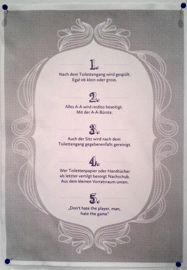 Regeln für die Benutzung der Toilette
