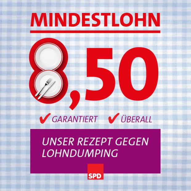 Original Plakat: SPD Mindestlohn Teller Unser Rezept gegen Lohndumping