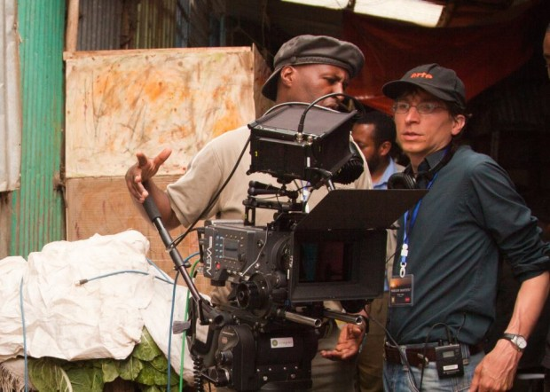 Coproducer and Director of Photography Abraham Haile Biru together with Producer and Director Stefan Jäger - discussing the next shot, in the middle of the Merkato in Addis Ababa. - Facebookseite Horizon Beautiful