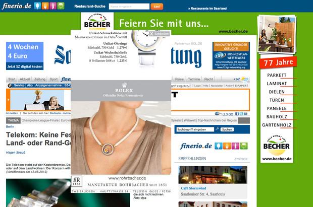 Screenshot der Saarbrücker Zeitung