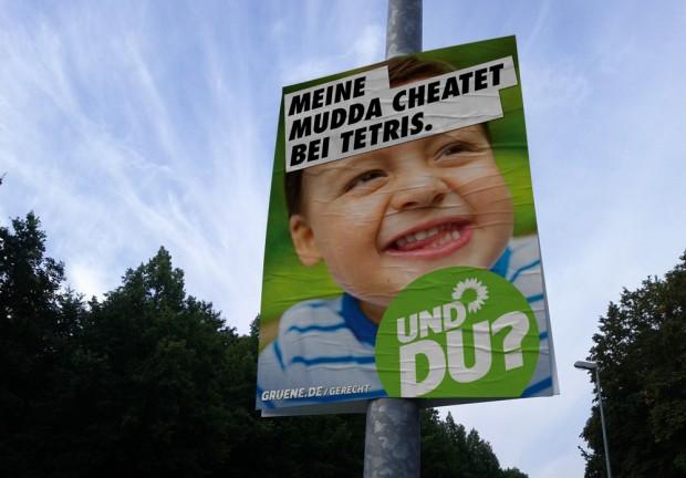 Wahlplakat Bündis90/Die Grünen zur Bundestagswahl 2013 - Meine Mudda wird Chef