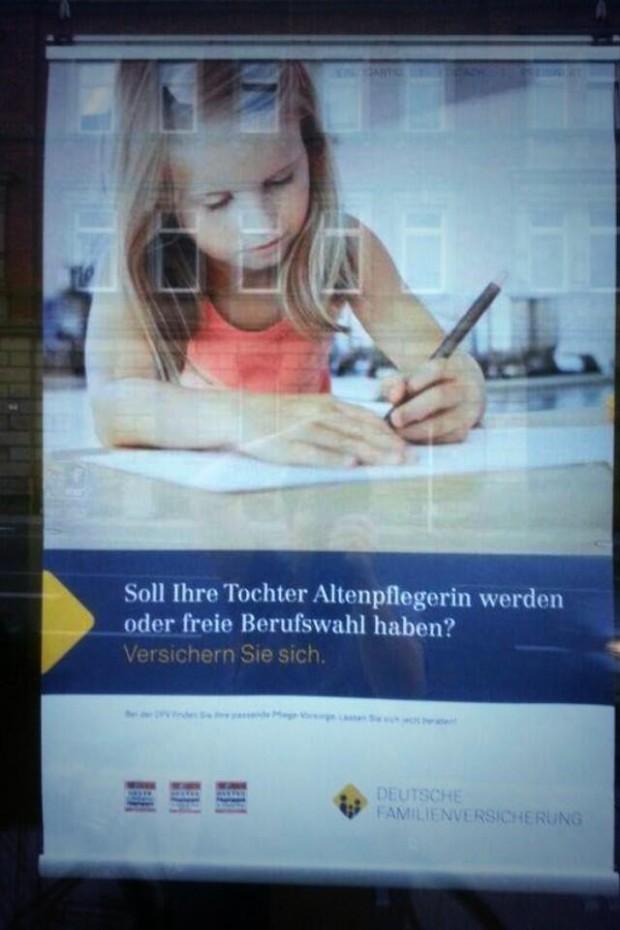 Werbung, die keiner braucht: Soll ihr Kind Altenpflegerin werden oder freie Berufswahl haben?