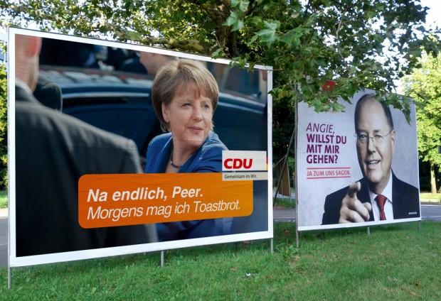 Peer Steinbrück will mit Angela Merkel gehen und Angela mag Toastbrot