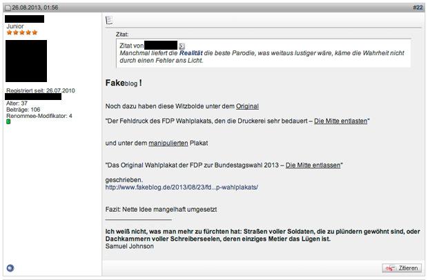Beitrag in einem Forum zur FDP Satire