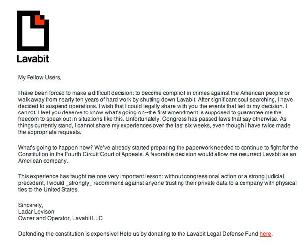 Lavabit beendet seinen Dienst als E-Mail Provider