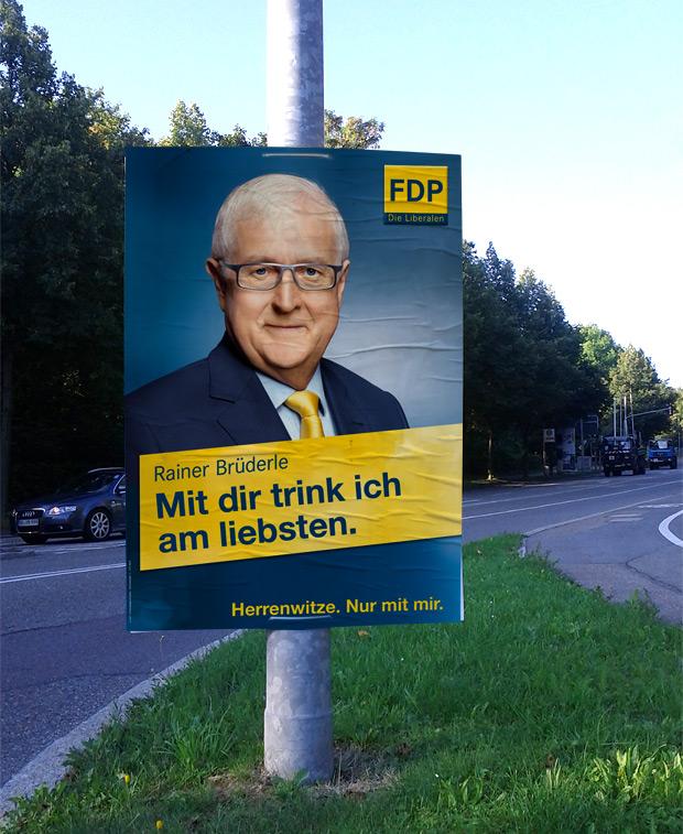 Adbusting Wahlplakat FDP zur Bundestagswahl 2013 Rainer Brüderle - Damit Deutschland stark bleibt