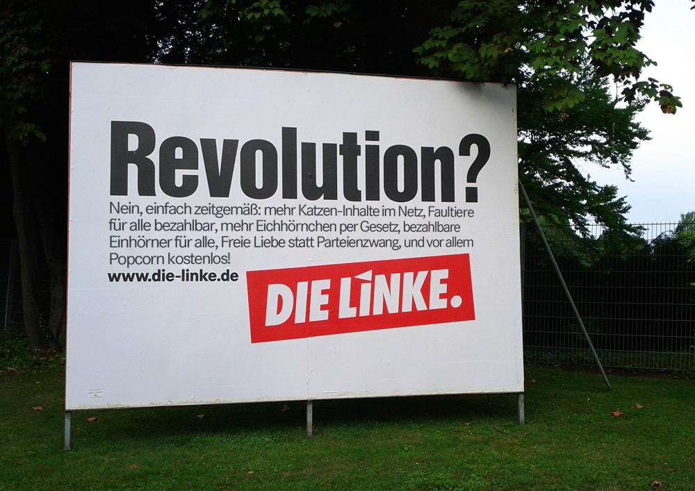 Revolution wahlplakat adbusting die linke bundestagswahl 2013