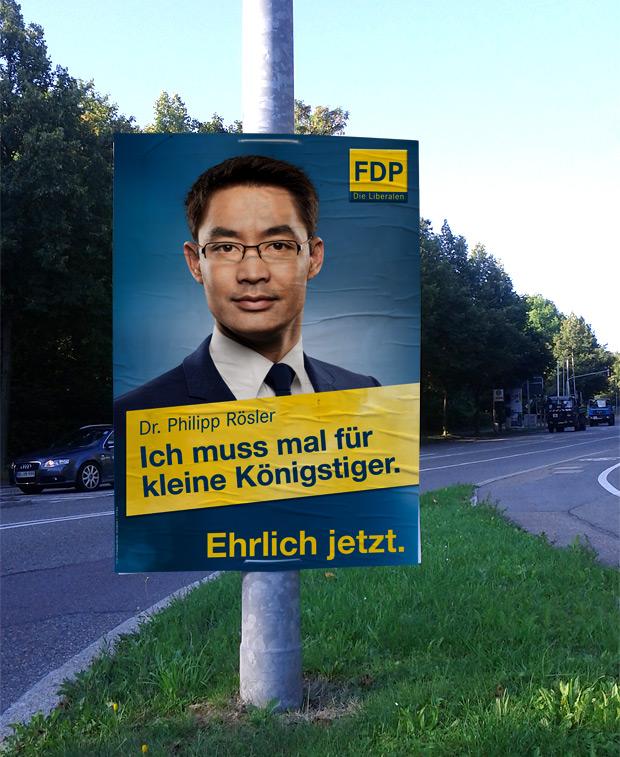 Adbusting Wahlplakat FDP zur Bundestagswahl 2013 Philipp Rösler - Starke Mitte