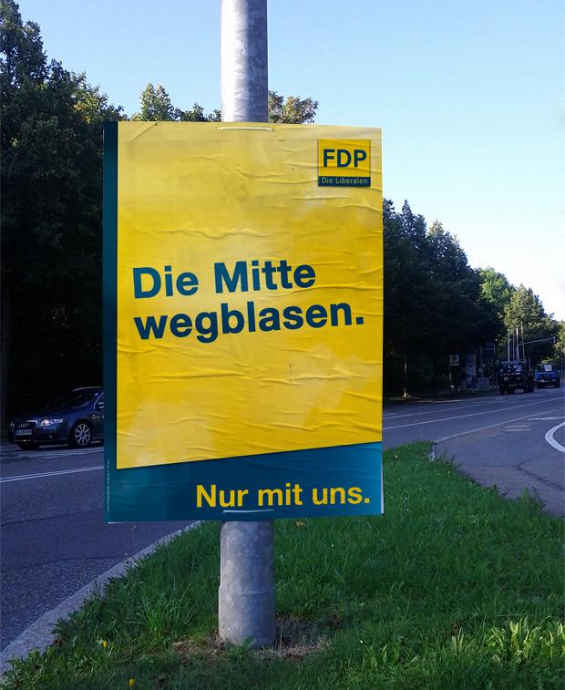 Wahlplakat FDP zur Bundestagswahl 2013 - Die Mitte entlasten